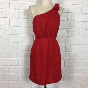 IN GOD WE TRUST red linen one shoulder dress Small